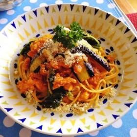 茄子とほうれん草の鮭パスタ ~簡単おもてなし料理~